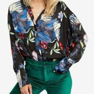 Free People Silk Nights Floral Button Down Top
